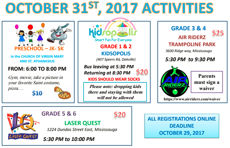 October 31st Activities @ Church of Virgin Mary And St Athanasius