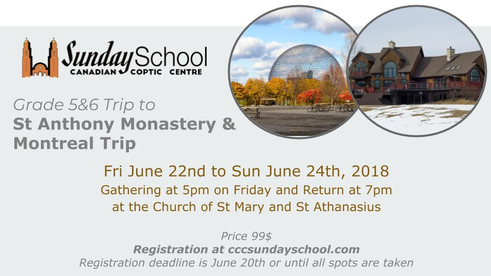 Grade 5&6 Trip to St Anthony Monastery and Montreal @ Church of t Virgin Mary and St Athanasius