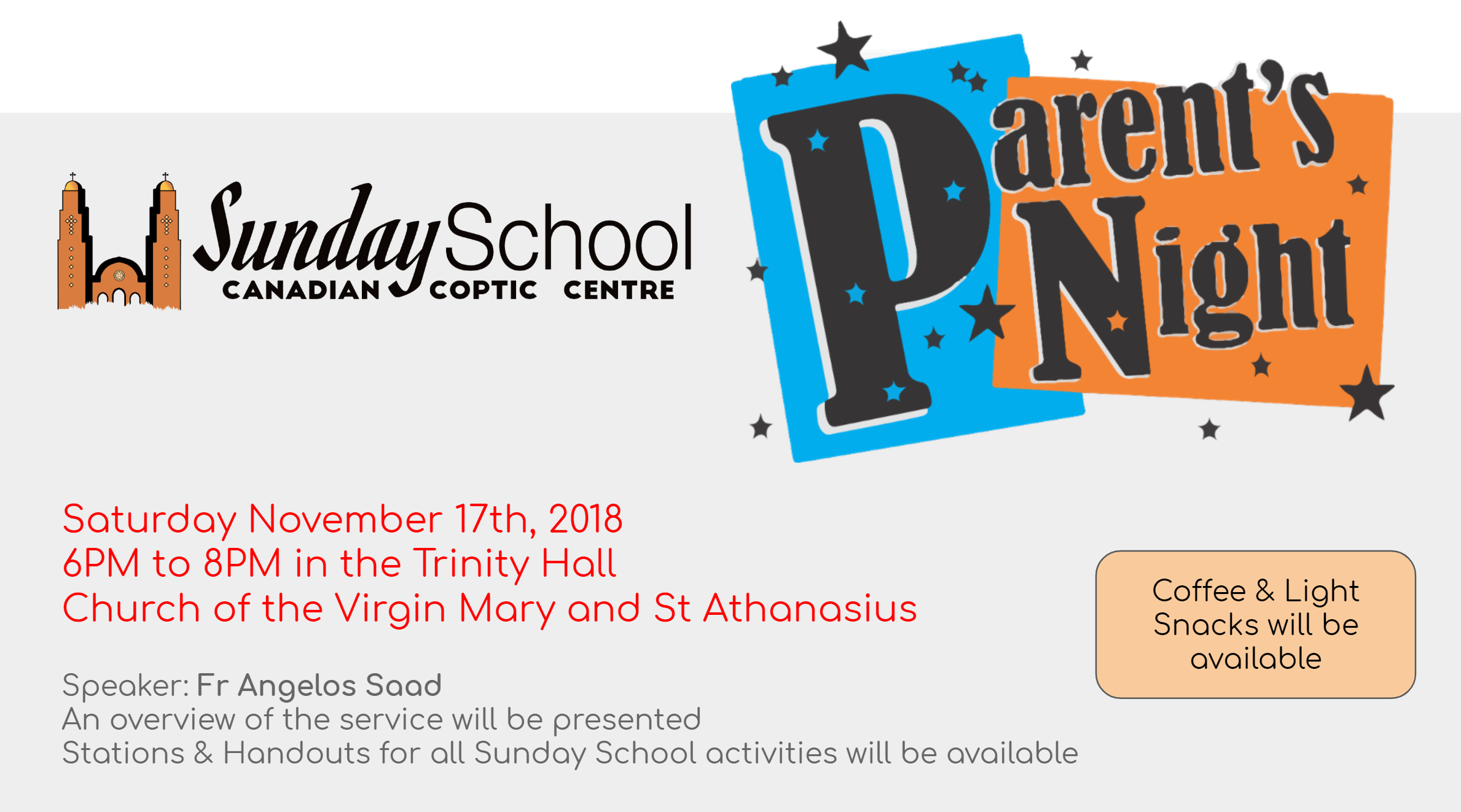 (Canceled) Sunday School Parents' Night 2018 @ Trinity Hall, VMSA