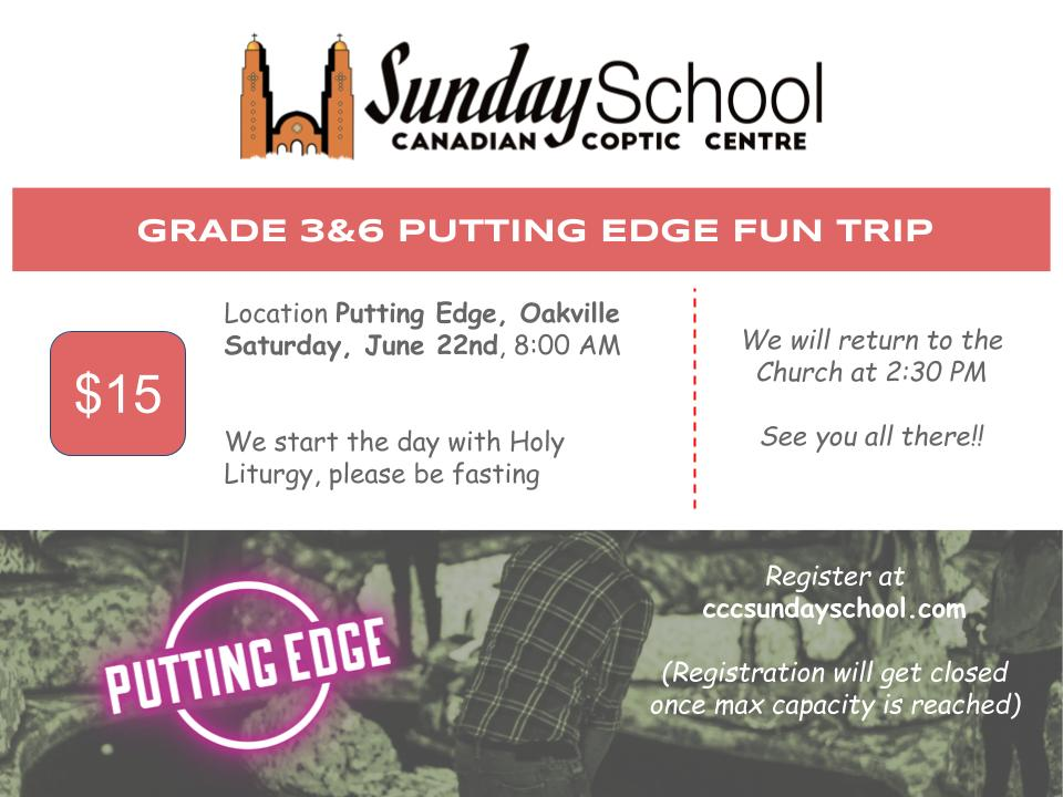 Sunday School Grade 3&4 June 2019 Fun Trip @ Putting Edge, Oakville