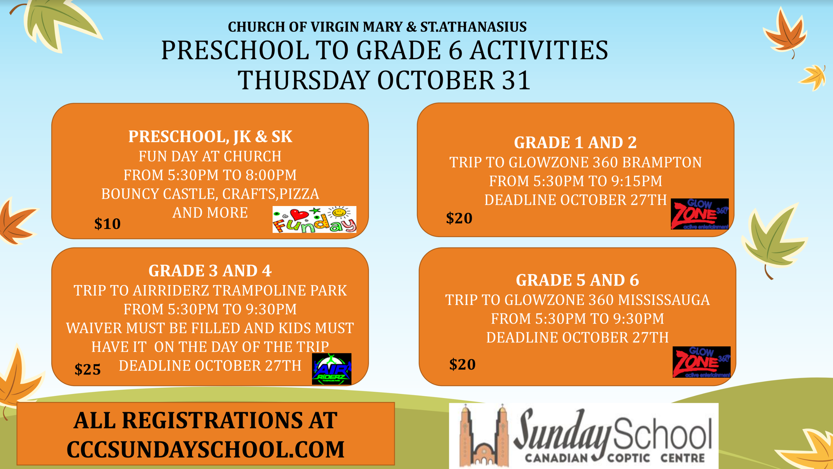 Sunday School October 31st Activities