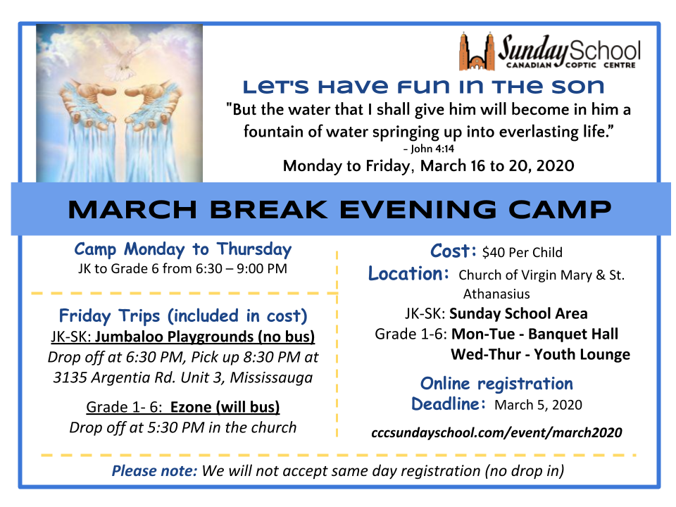 March Break Evening Camp 2020 @ Church of Virgin Mary and St Athanasius